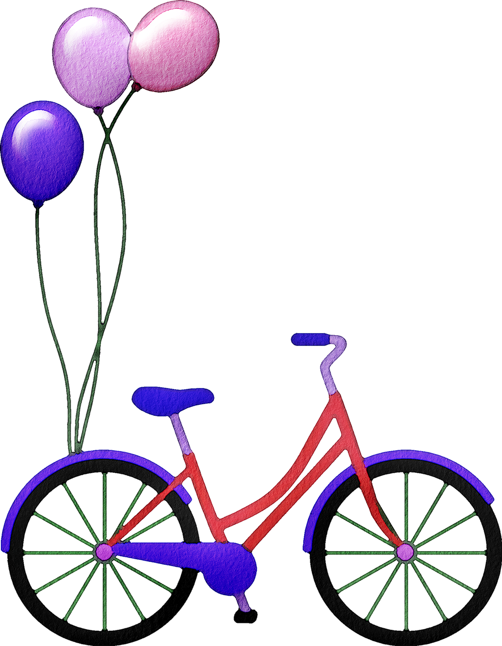 bicycle, bike, balloons