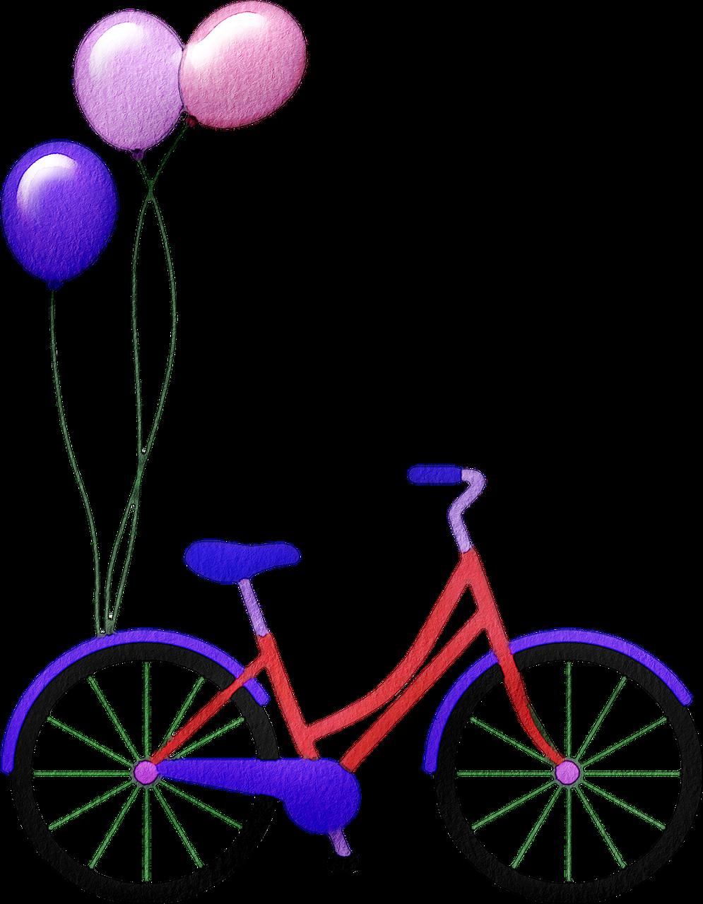bicycle, bike, balloons